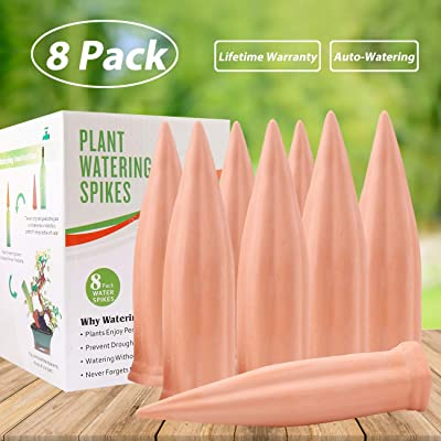 Plant Water Self Watering Spikes, Automatic Vacation Plant Watering Devices, Terracotta Wine Bottle Stake Set, Slow Release Self Irrigation Watering System-Perfect for Indoor Outdoor Plant (8 Pack) : Garden & Outdoor