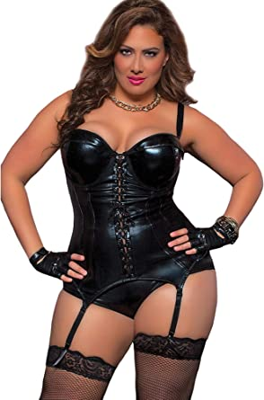 Amazon Com Seven Til Midnight Plus Lenceria Tipo Corpino Talla Grande Color Negro Clothing