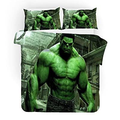 FAIRY KAARI Hulk Duvet Cover Cartoon Hulk Bedding Set 100% Polyester Teenagers Adult Bed Set,3pcs 1 Duvet Cover 2 Pillowcase Twin Full Queen King Size: Home & Kitchen
