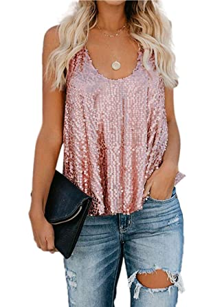 0a0a35d1 Crlsahi Ladies Flowy Shimmer Tank Tops for Women Summer Sparkle Sequin Sexy Shirts  Vest Tops Clubwear