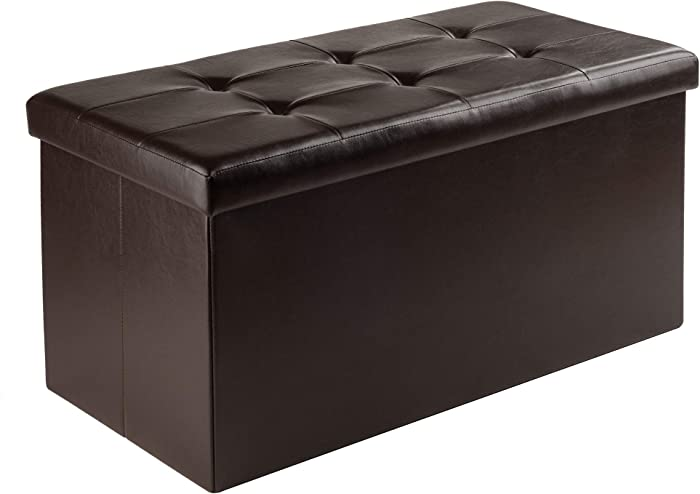 Winsome Furniture piece Ashford Ottoman with Storage Faux Leather, Espresso