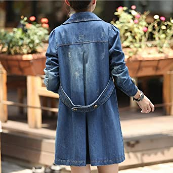 05f20235d5480 Amazon.com  Transer Women Plus Size Double Breasted Lapel Collar Trench Long  Sleeve Denim Jacket Jean Coat Outwear Overcoat  Kitchen   Dining