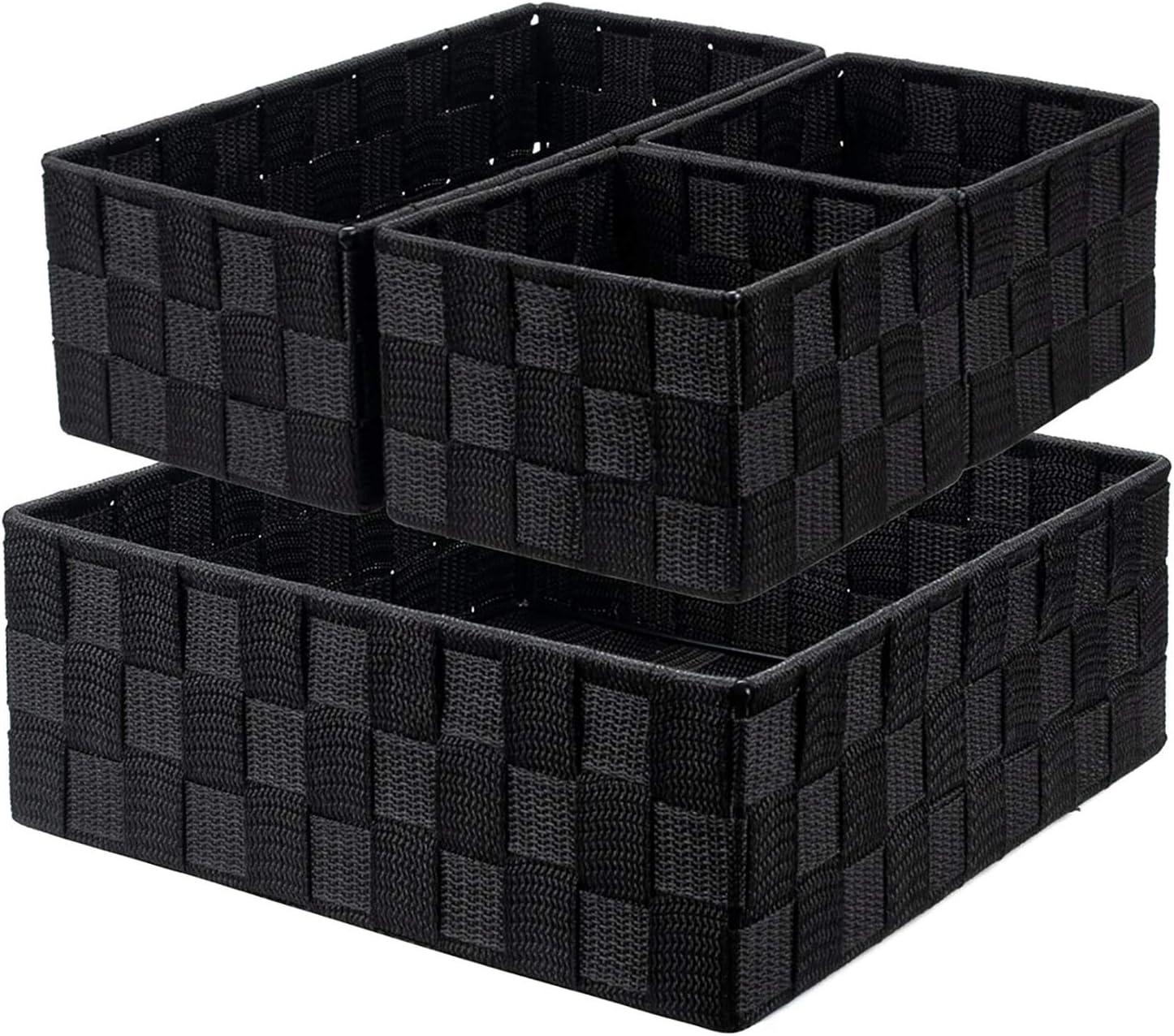 Nicunom 4 Pack Woven Storage Box Cube Basket Bin Container Box, Nylon Storage Basket for Closet, Dresser, Drawer, Shelf, Office Divider Organizer Bins, Black