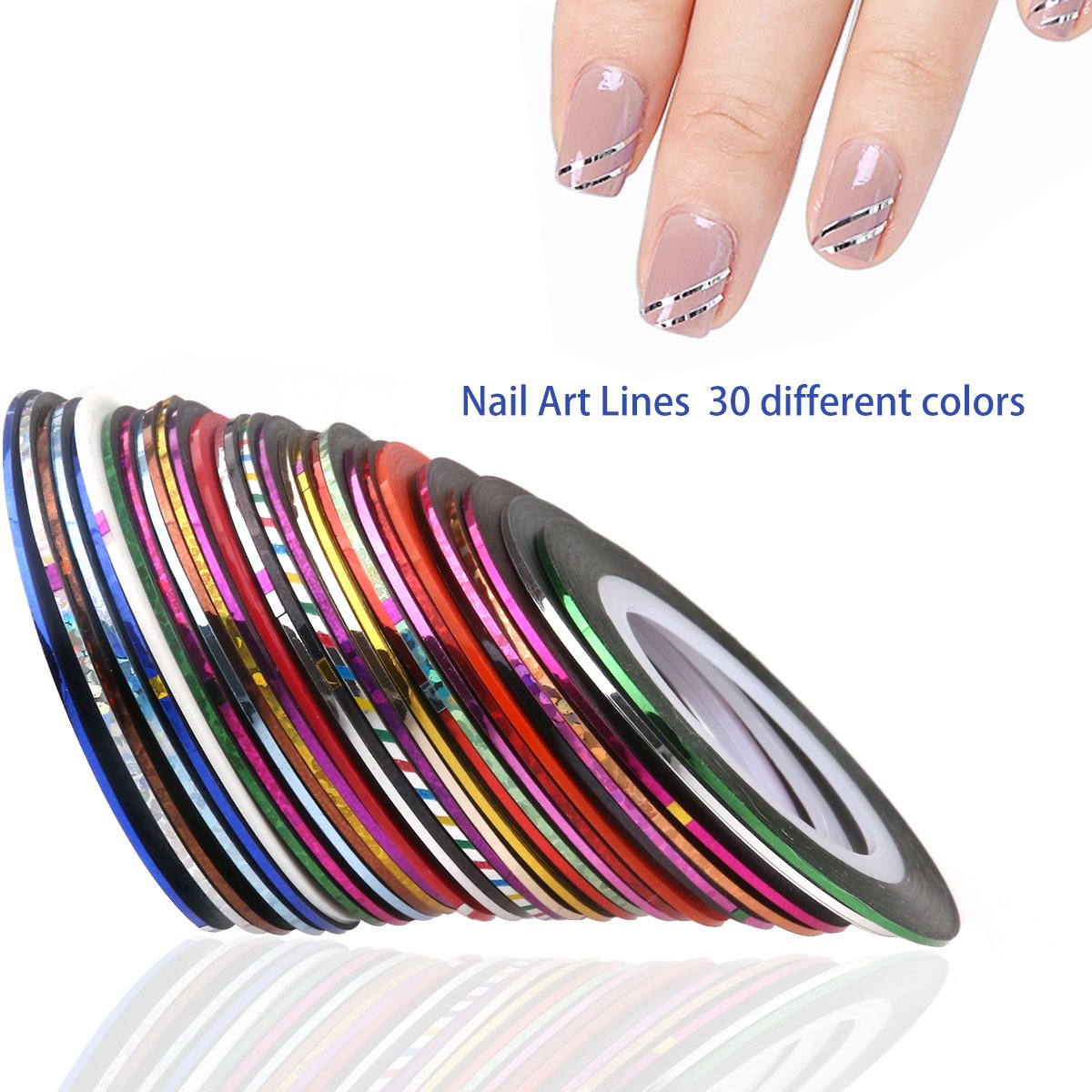 Amazon.com : RUIMIO 30 Nail Striping Tape, 15 Nail Art Brush, 12 ...