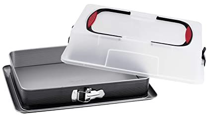 Molde para tarta de chapa con tapa de transporte, forma rectangular antiadherente con borde alto