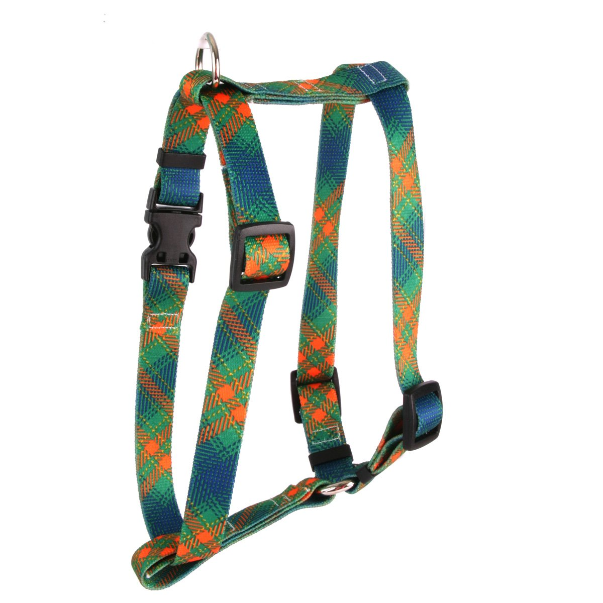 Extra Large 28\ Yellow Dog Design Green Kilt Roman Style H  Dog Harness, X-Large 1  Wide