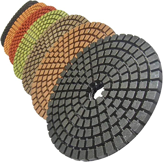 """4/"""" 3-Steps Wet Diamond FLORAL Polishing Pads w// Backer Pad for CONCRETE MARBLE"""