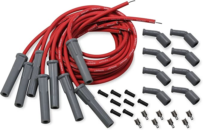Black Spark Plug Wire Plug Boots /& MSD Terminals Straight 180 Multi-Angle Pair