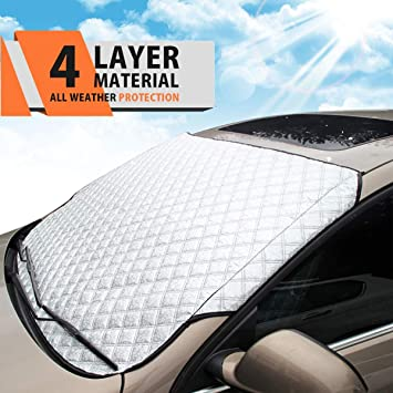 Black Front Gear Glass Antifreeze Cover Coated Silver Cloth Block 210T Windshield Snow Suitable For Any Car Truck SUV Truck Car Snow Cover