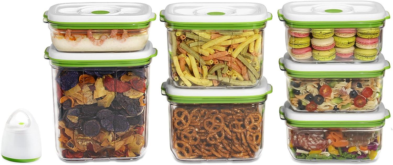 FOSA Sistema de almacenamiento de alimentos al vac/ío contenedor reutilizable juego de jade con aspiradora y 7 contenedores reutilizables