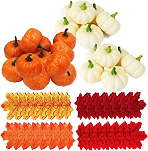 Yarssir 32pcs Bulk Assorted Artificial Orange White Pumpkins 200pcs Fall Artificial Maple Leaves Wedding Party Table Fireplace Decor Wreath Craft Harvest Halloween Pumpkins Thanksgiving Centerpieces