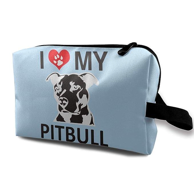 Amazon com: I Love My Pitbull 7 Travelling Makeup Bags