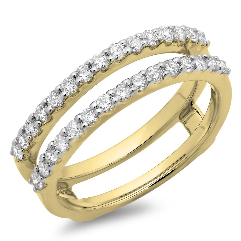 0.50 Carat (ctw) 14K Yellow Gold Round Diamond Ladies Anniversary Guard Double Ring 1/2 CT (Size 4.5)