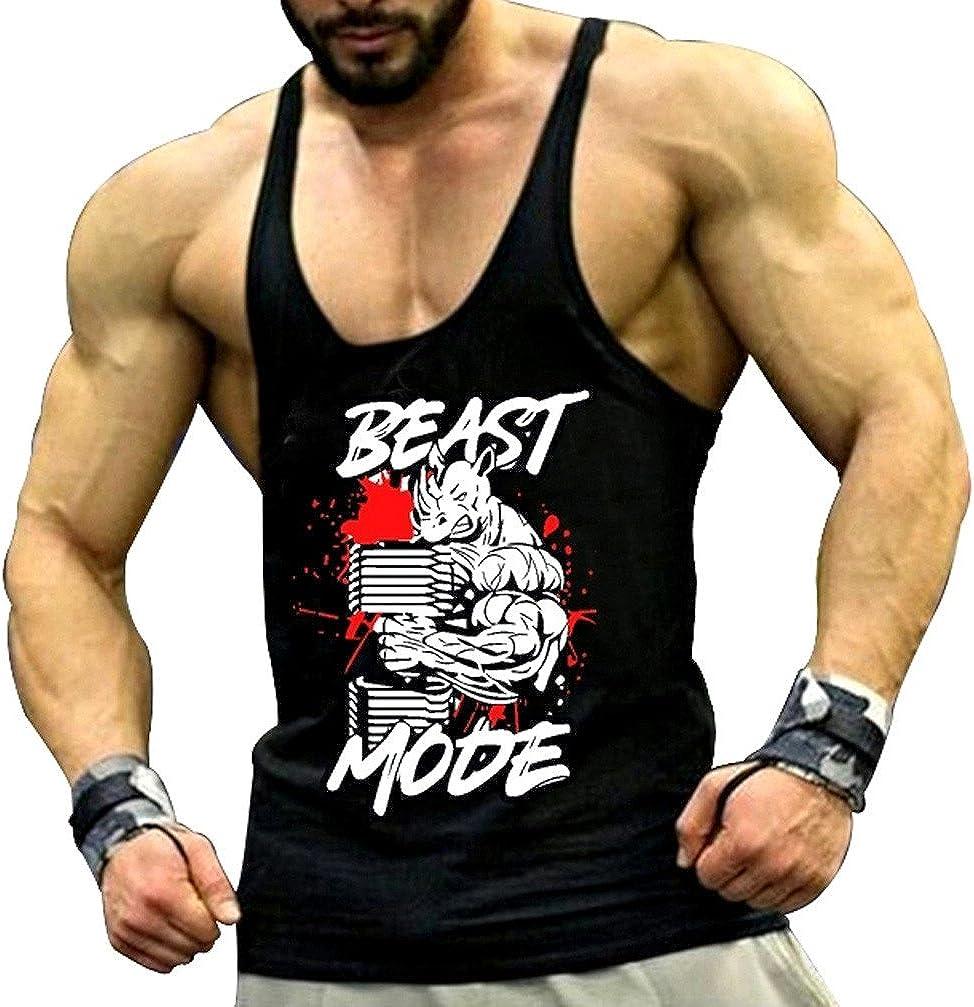 Tank Top Hombre de Tirantes Camiseta Tirantes Deportiva de algodón para Pesas y Gym. Camisas Fitness sin Mangas. (Rino) - S: Amazon.es: Ropa y accesorios