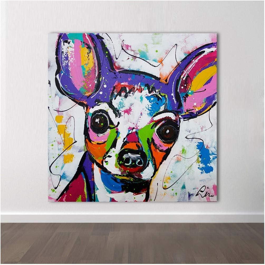 XIAOXINYUAN Animal Abstracto Moderno Arte De La Lona Chihuahua Perro Arte Pop Cuadros De Pared para La Sala De Estar Decoración Pintura Sin Marco 70 × 70 Cm