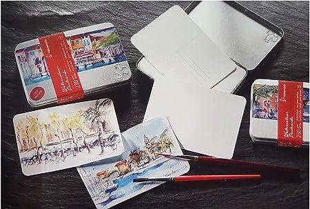 250 g//m2 10,5 x 14,8 cm Cartoline ad acquerello in scatola di metallo opache