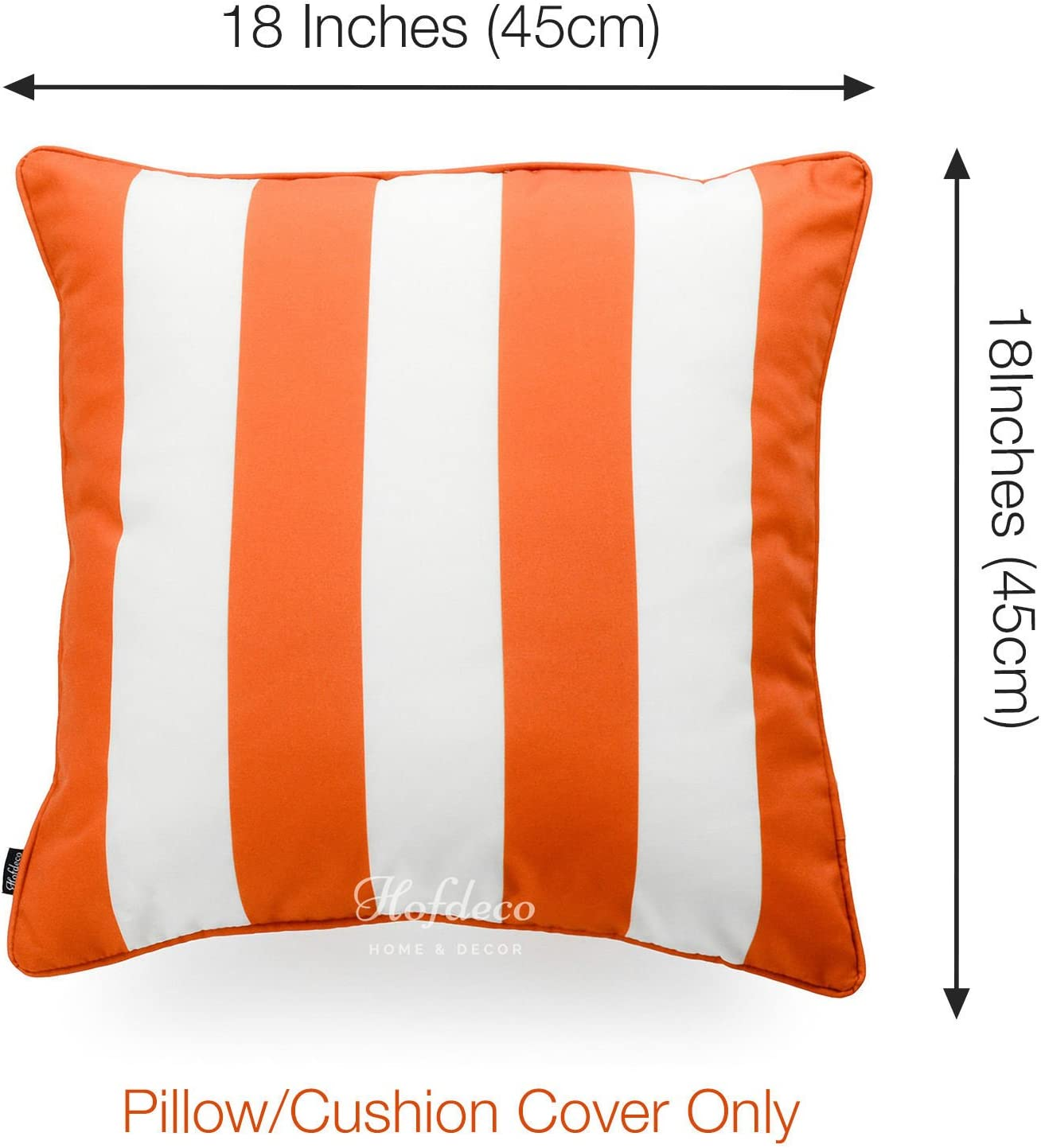 Hofdeco Indoor Outdoor Pillow Cover Only Water Resistant For Patio Lounge Sofa Fall Orange White Stripes 18 X18 Home Kitchen