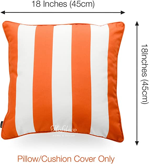 Hofdeco Indoor Outdoor Pillow Cover Only Water Resistant For Patio Lounge Sofa Fall Orange White Stripes 18 X18 Home Kitchen Amazon Com