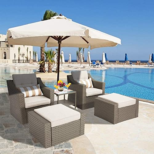 Crownland Outdoor Furniture Patio Sofa Sets 5-Piece Pedals Patio Furniture Set Include Lounge Chair Pedals,Cushions Pillows and Glass Coffee