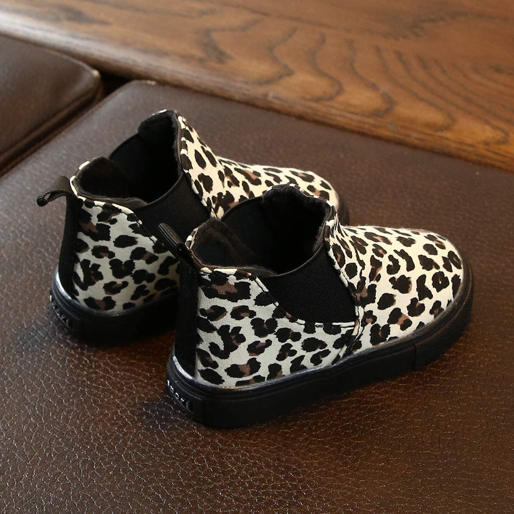 ZZBO Boys Girls Winter Boots Kids Children Warm Shoes Waterproof Short Ankle Leopard Snow Boots Casual Shoes Toddler Cowboy Boots Gift