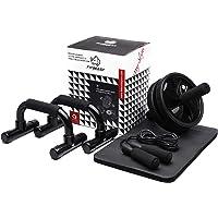 3-in-1 Ab Wheel Roller Set AB Roller met Push-Up Bar, Skipping Touw en Knie Pad - Home Workout Apparatuur voor Abdominal…