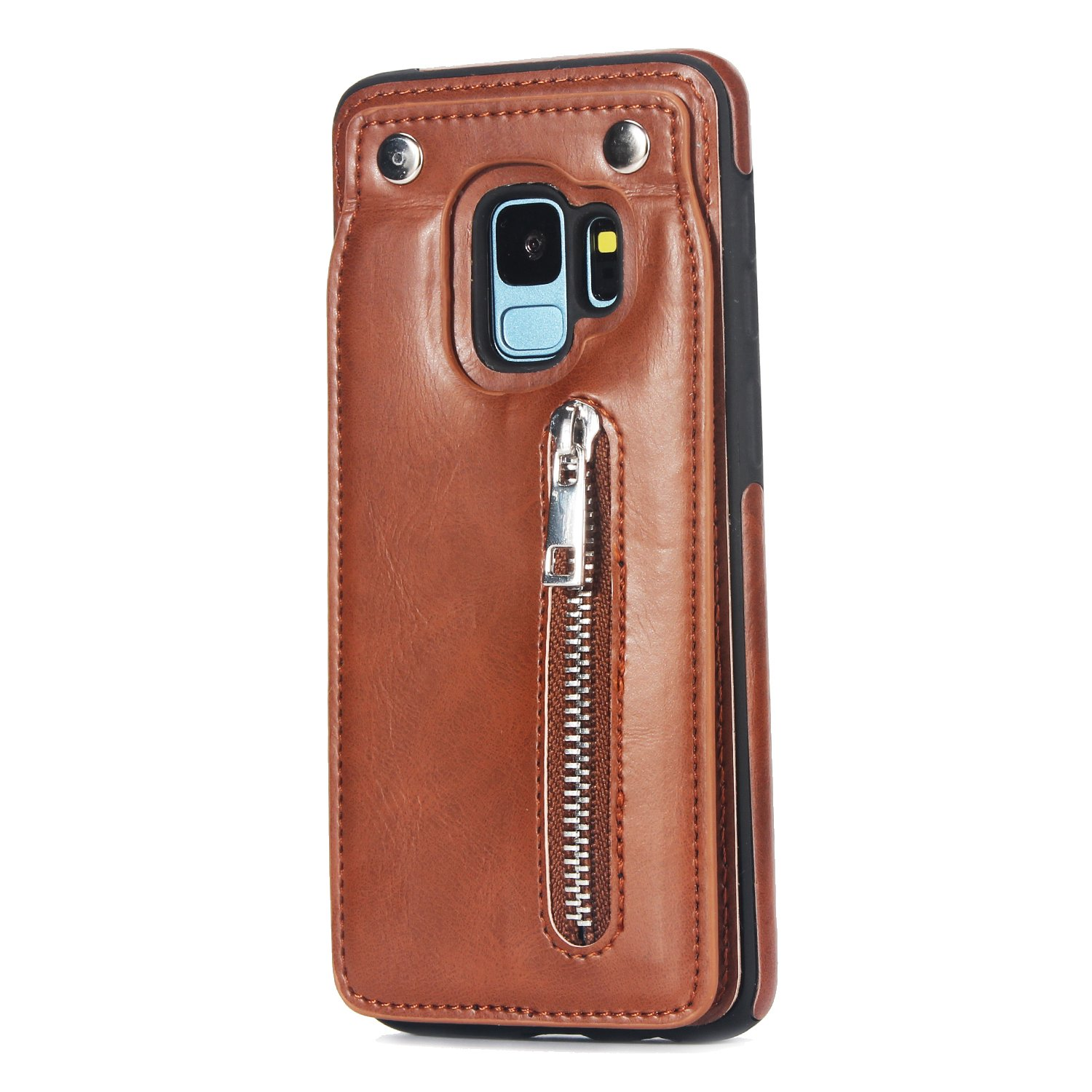 Case for Galaxy S9 Flip Case Premium PU Leather Wallet Cover with Card Holder Money Pocket Durable Shockproof Protective Cover for Galaxy S9,Brown by ikasus