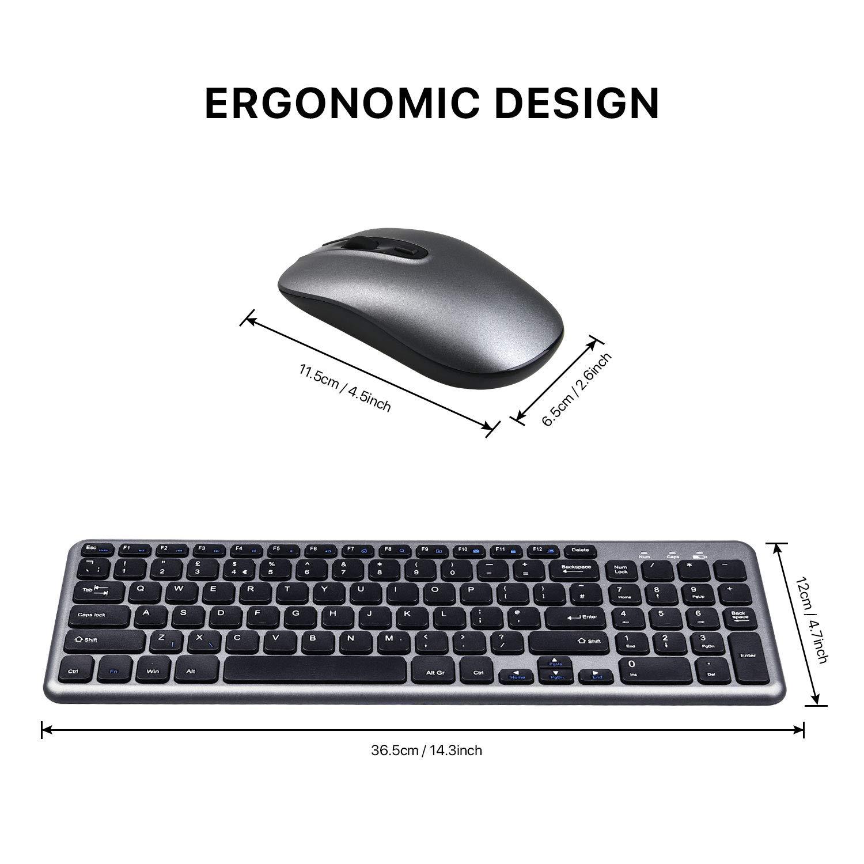 PC Notebook Desktop Wireless Keyboard Mouse Combo Laptop(QWERTY UK Layout) Computer Cimetech Compact Full Size Wireless Keyboard and Mouse Set 2.4G Ultra-Thin Sleek Design for Windows