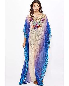 Bayside Barcelona Azul Blanco Cristales embellecidos Vestido de Baño de Traje de Baño de Verano Kimono
