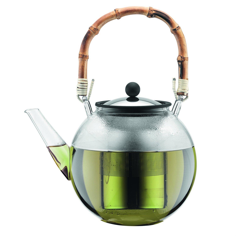 Bodum Piston Teapot, Stainless Steel Filter, Natural Bamboo Handle, Transparent, Glass, Glass, Bambou, Transparent, INOX, 1,5 L