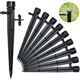 50PCS Drip Irrigation Emitters, Irrigation Drippers for 4/7mm Tube PE Pipe, 360 Degree Adjustable Drip Emitter, Water Flow Dr