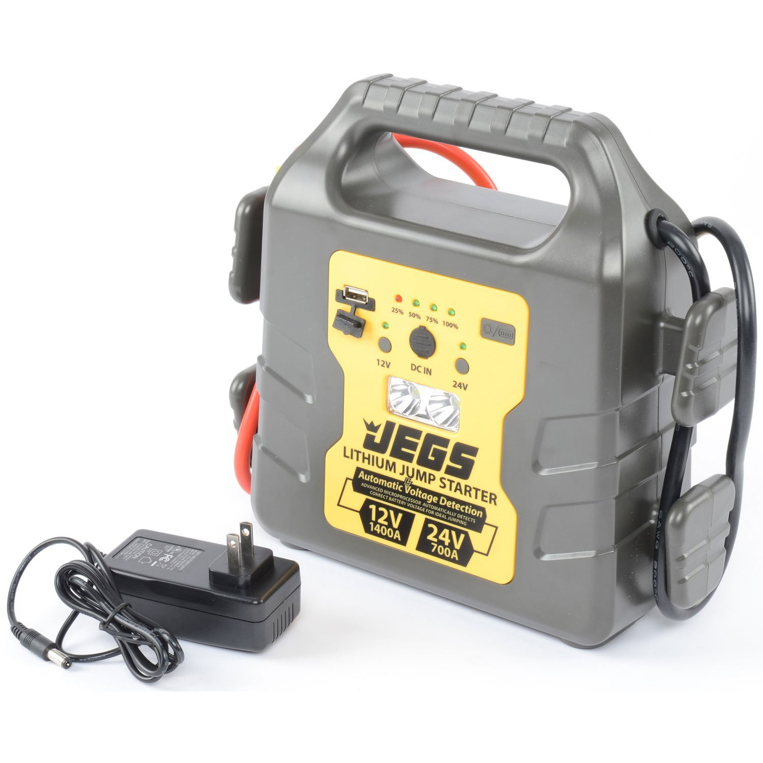 Jegs Performance Products 81952 Lithium Jump Starter Short Circuit Protection Car 12v 24v Truck 1400a Peak Current 68 Lbs Automotive