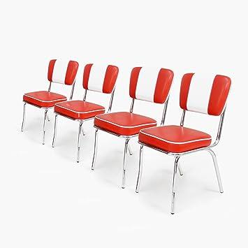 Kunstleder Chrom Retro Diner 50er 4er American Stuhl Set TiwOukXZlP