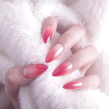 Juego de 24 piezas de decoración de uñas mágicas de punta larga con ...
