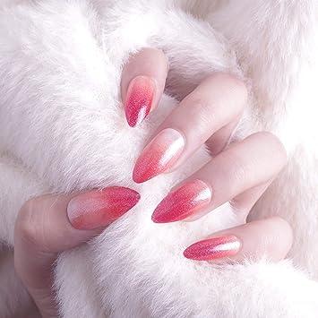 Juego de 24 piezas de decoración de uñas mágicas de punta larga con purpurina roja para uñas postizas de grado rojo para fotografía, cobertura completa, ...