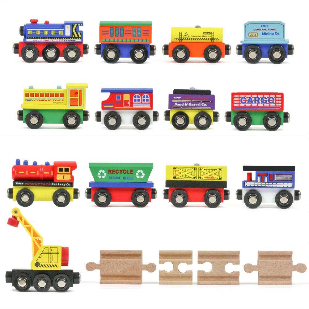 Tiny Conductors 12 Wooden Train Cars, 1 Bonus Crane, 4 Bonus Connectors, Locomotive Tank Engines and Wagons for Toy Train Tracks, Compatible with Thomas Wood Toy Railroad Set (Trains)