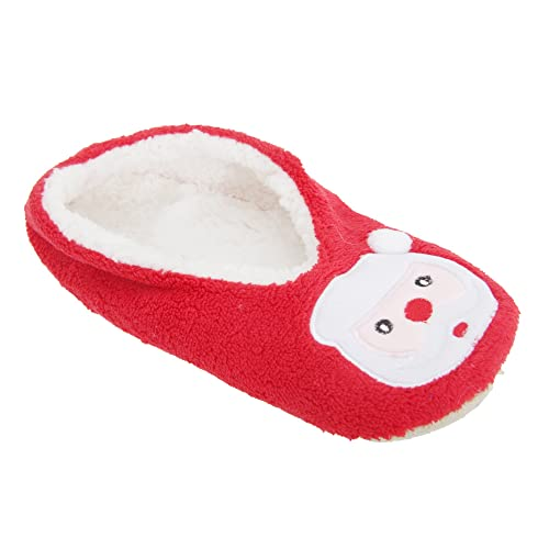 Universal Textiles WomensLadies RudolphSanta Design Novelty Christmas  Slippers 56