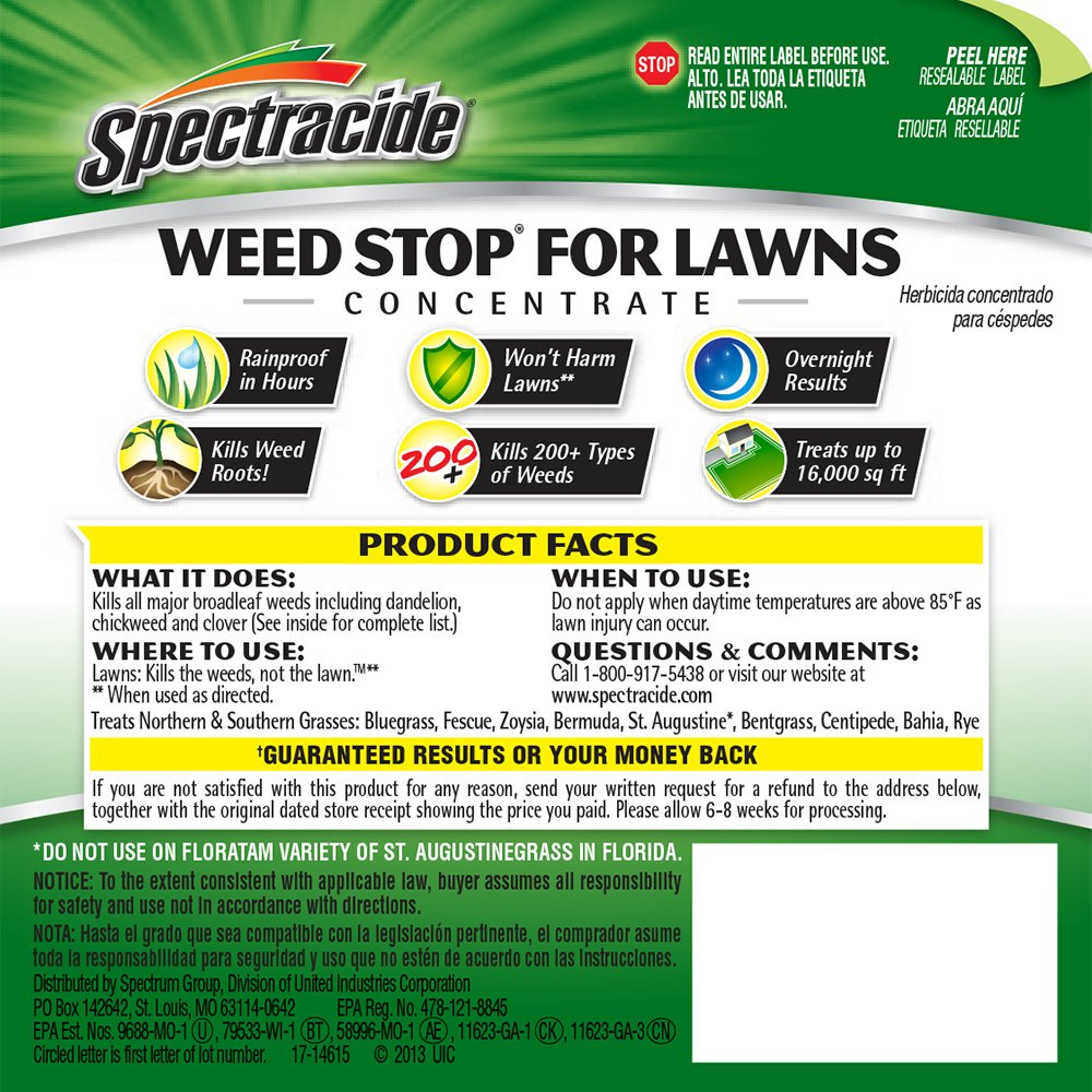 com spectracide weed stop for lawns concentrate hg  com spectracide weed stop for lawns concentrate hg 96392 32 fl oz patio lawn garden