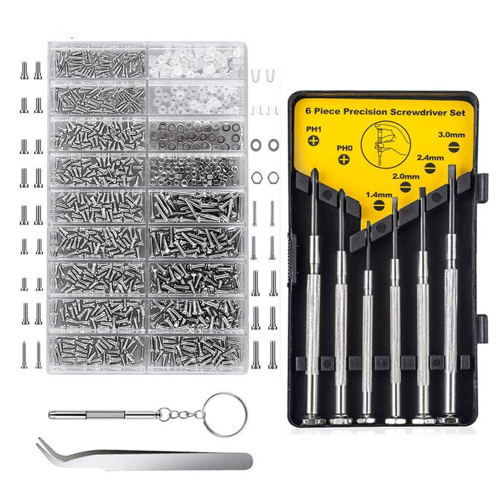 Eyeglasses Repair Kit, 1000PCS Eyeglass Screws and 6 Pcs Screwdrivers Tweezer for Eyeglasses, Sunglasses, Watch Clock Spectacle Repair