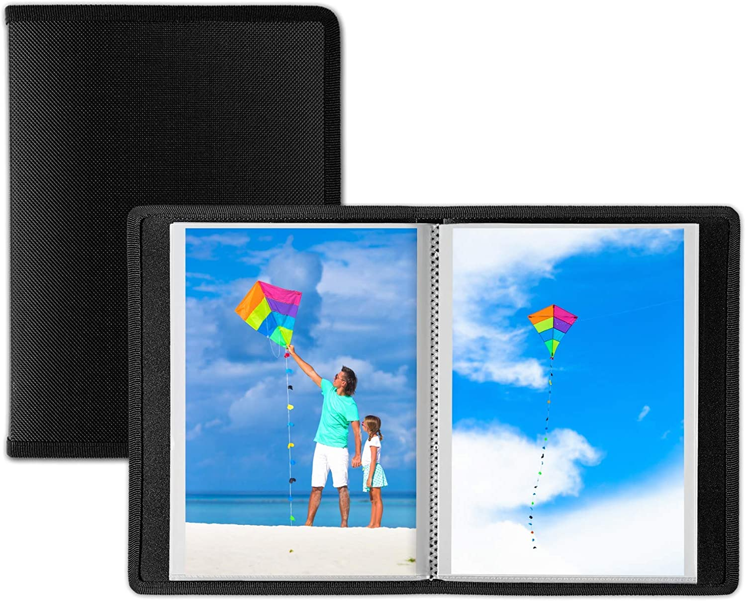 Dunwell Small Photo Album 4x6 - (Black, 2 Pack), 24 Pages Hold 48 Pictures, 4x6 Portfolio Folder for Artwork, Photo Brag Book, Great for Postcards or Picture Storage, Album for 4 x 6 Photos