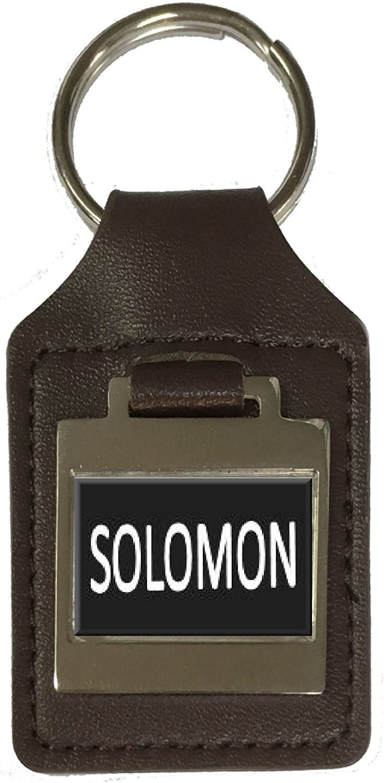 Solomon Leather Keyring Birthday Name Optional Engraving