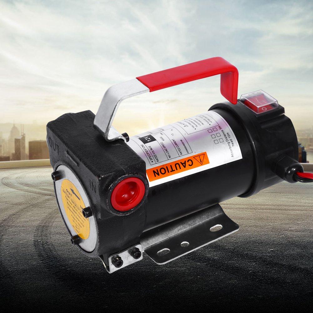Bomba de Transferencia de Diesel, 12V DC Eléctrica Diesel Oil Pump Queroseno con la Boquilla de Combustible para Los Camiones Pesados Vehículos de Carga, ...