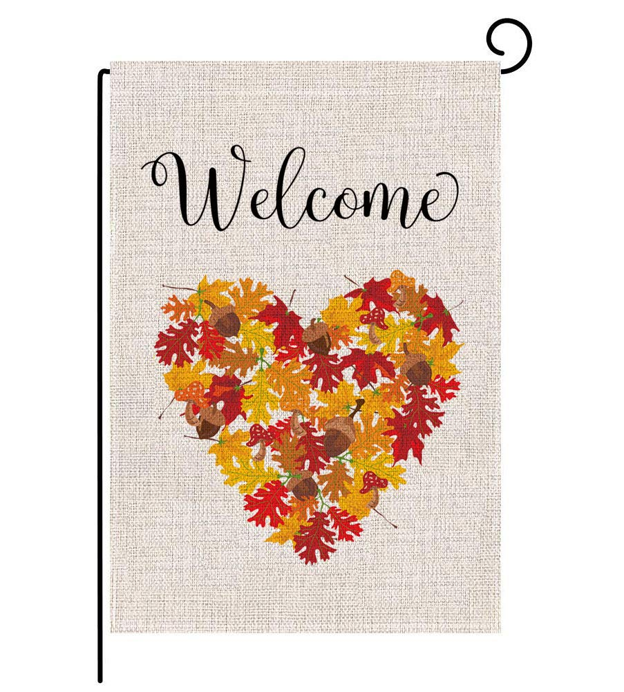 Keniot Autumn Leaf Welcome Garden Flag Double Sided Burlap Fall Garden Flag, Seasonal Fall Outdoor Funny Decorative Flags for Yard Outdoor Decor, 12.5 x 18.5 inch
