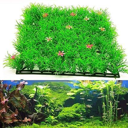 Huhuswwbin Plantas Artificiales Verdes para Acuario o pecera, Adorno de césped Realista, Color Verde