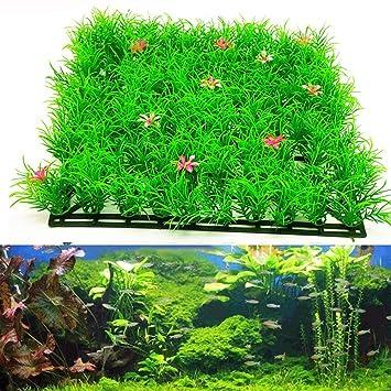 Huhuswwbin Plantas Artificiales Verdes para Acuario o pecera, Adorno de césped Realista, Color Verde: Amazon.es: Hogar