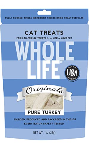 Whole Life Pet Single Ingredient USA Freeze Dried Turkey Treats for Cats