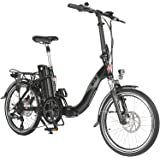 "AsVIVA E-Bike Elektro Faltrad B13 mit 36V 15,6Ah Samsung Akku in schwarz, extrem kompakt |20"" Klapprad mit 7 Gang Shimano Kettenschaltung, Scheibenbremsen LED Beleuchtung | Elektrofahrrad"