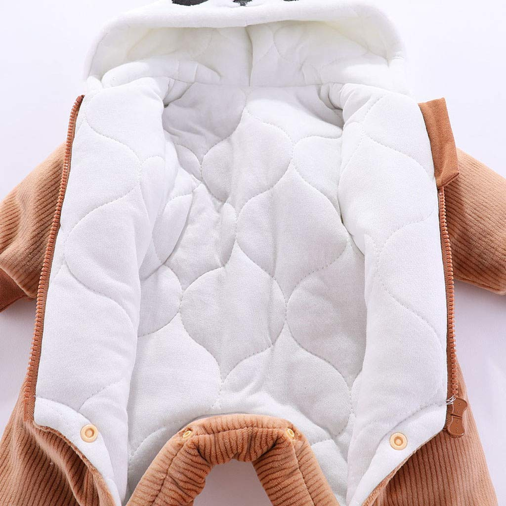 per Autunno e Inverno in Pile Squarex con Cappuccio a Maniche Lunghe Tutina per Beb/è da 0 a 12 Mesi