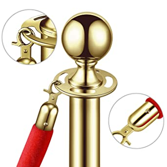 Ball Round Top Crowd Control Queue Pole Barrier Ideal//f Movie Theaters Red Carpet Party Flexzion VIP Stanchion With Red Velvet Rope Stainless Steel Set of 2 Posts Line Dividers Decoration Gold