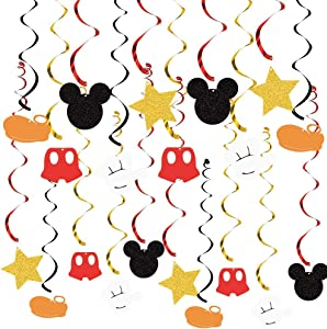 30pcs Mickey Mouse Birthday Hanging Swirl Decorations, Ceiling Streamers Mini Mouse Birthday Party Supplies, Hanging Swirls Party Favors for Kids Boys Glitter Gold, Red and Black Decor