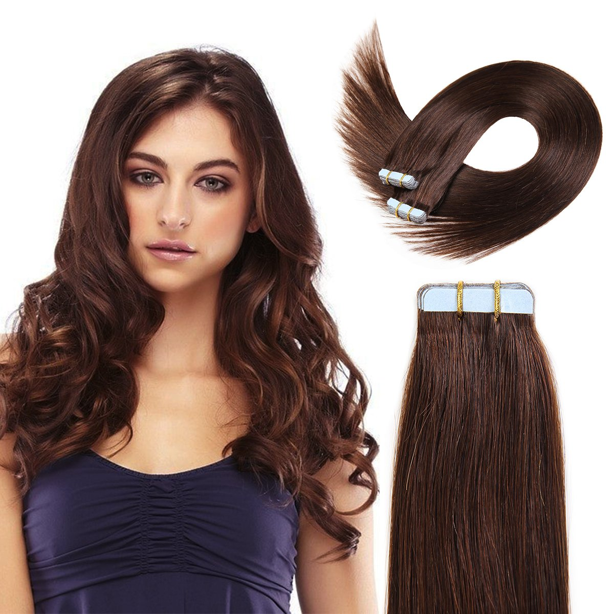 20 Inch Tape In Hair Extensions 100% Remy Straight Tape Human Hair Extensions 20pcs 50g/pack (#4) Medium Brown ... by BEAUTY ON LINE